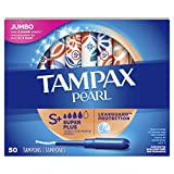 Tampax Pearl Tampons Super Plus Absorbency with LeakGuard Braid, Unscented, 50 Count