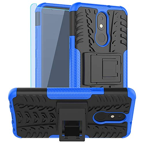 SKTGSLAMY LG Tribute Royal Case,with HD Screen Protector,LG Aristo 4 Plus Case, Neon Plus Case, [Shockproof] Tough Rugged Dual Layer Protective Case Hybrid Kickstand Cover for LG Aristo 4+ (Blue)