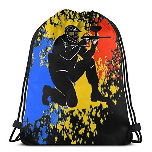 NotApplicable Rucksack Mit Kordelzug Paintball Paintballer Color Print Geburtstag Durable Wandertasche Cinch Bags Männer Outdoor-Sportarten Frauen Casual Weihnachten Casual Travel Leichte Kordel