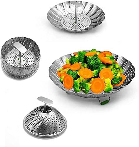 3D.Mr.Señor Vaporera Plegable de Acero Inoxidable, [Versión Última ] Utilizada para Cocinar Pescados y Mariscos Vegetarianos, Se Puede Ampliar para Adaptarse a Varios Tamaños de Ollas (14-23CM)