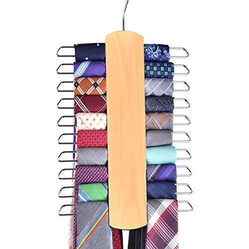 Umo Lorenzo Premium Wooden Necktie and Belt Hanger Walnut Wood Center Organizer and Storage Rack with a NonSlip Finish  20 Hooks