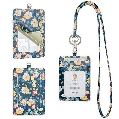 Rose Lake Colgantes de tarjetas de identificación floral de cordón con espejo, llavero desmontable (Flor Denim Azul)