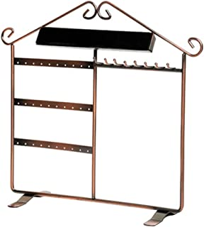House Shape Jewelry Display Hanging Rack Stand Earrings Necklaces Bracelets Metal Rack Holder Organizer Bronze