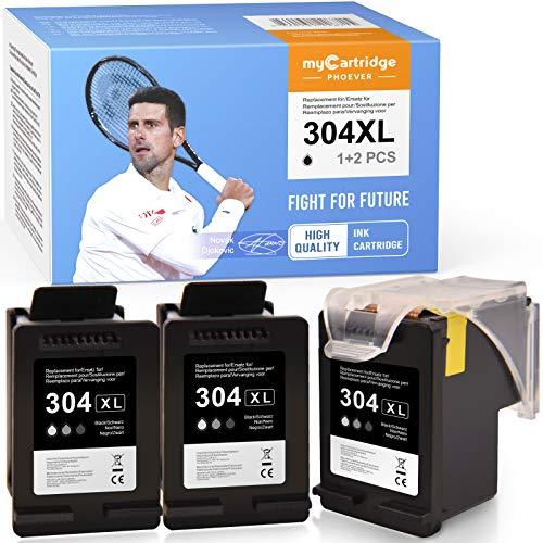 MyCartridge PHOEVER Cartucho remanufacturado de repuesto para HP 304 304XL para HP DeskJet 2620 2630 3720 3730 3735 HP Envy 5020 5030 5032 (3 negros)