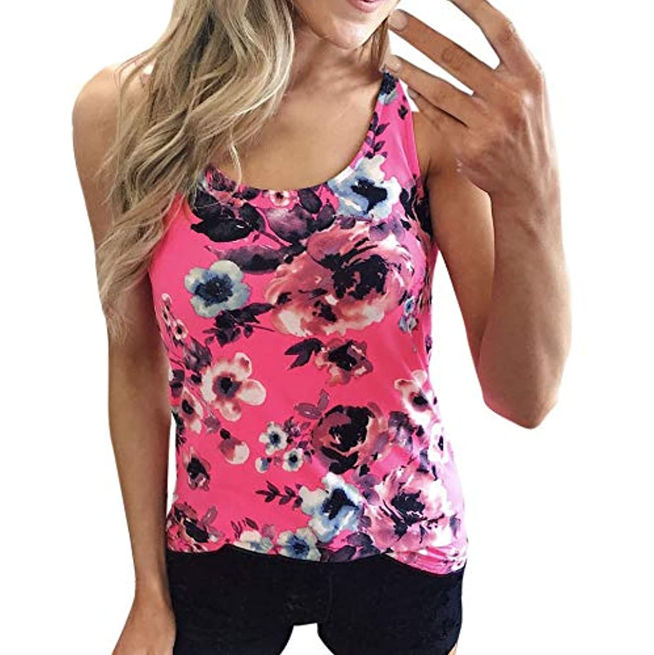 Graphic Tees for Women,YuhooSUN Summer Round Neck Shirts Pleated Sleevelees Tank Tops Floar Print Vest Blouse Tops