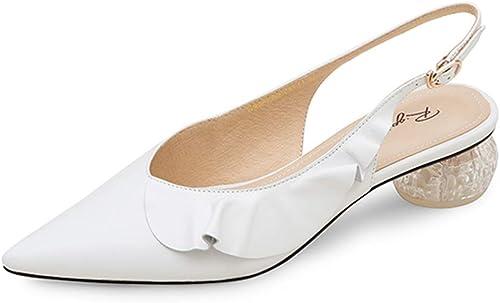 Chaussures pour Femmes en Cuir D'été Sandales à Talons épais Chaussures à Talons Moyens Chaussures à Dos Pointues pour Femmes Mode Elegant (Couleur   Blanc, Taille   35 US5.5)