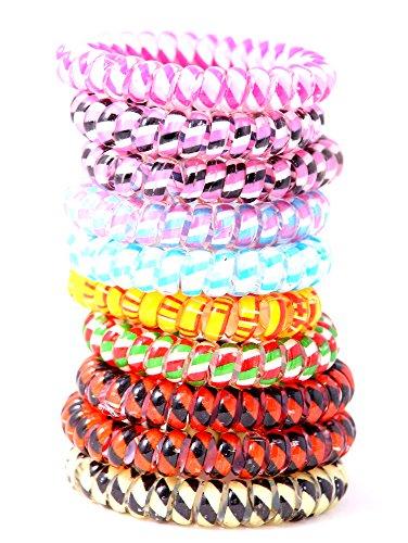 10er Set Haargummi bunt (Kunststoff-Spirale) Telefonkabel elastisch Haaraccessoire Haarschmuck