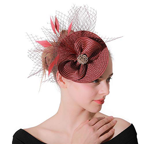 Jklj Pince à Cheveux Coiffe De Plumes Charme Big Flower Net Plume Coiffe Cocktail Hat Rétro (Color : Red Wine, Size : Free Size)