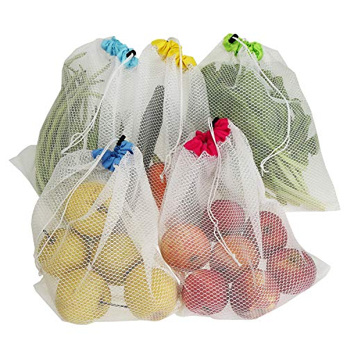 Tebery 10 Pack Washable and Reusable Produce Bags,Soft Premium Lightweight Mesh for Grocery Shopping Storage, Fruit, Vegetable, and Toys -12x14in