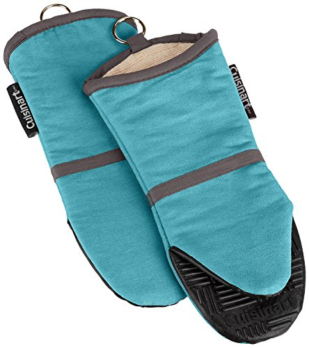 Cuisinart Silicone Oven Mitts, 2 Pack – Heat Resistant To 500 Degrees – Handle Hot Kitchen Items Safely – Non-Slip Silicone Grip Oven Gloves with Insulated Deep Pockets and Hanging Loop – Aqua