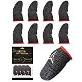 Gaming Finger Sleeves for Mobile Gaming, 0.3mm Silver Fiber, Smooth Operation, Anti-Sweat, Extremely Thin, Nuozme Finger Sleeves Compatible with Mobile Phone Tablet Devices, 8 PCS (Red)