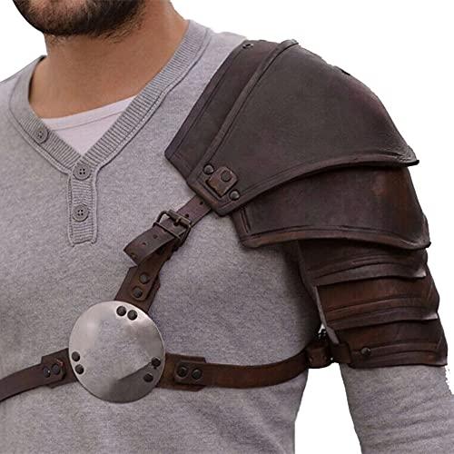 ZJJ Medieval Samurai Faux Leather Single Hombro Guardia Ajustable Retro Hombro Armadura Warrior Body Arns para El Pecho para Mujeres Hombres Cosplay Accesorios De Disfraces