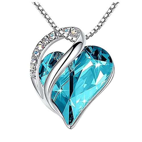 haoricu Love Heart Pendant Necklace with Birthstone Crystals, Jewelry Gifts for Women Birthday/Anniversary Day/Party Sky Blue