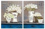 Cuadros de Madera de Flores decoración Tonos Azules Set de 2 Unidades de 19 cm x 25 cm x 4 mm unid. Adhesivo FÁCIL COLGADO. Adorno Decorativo. Decoración Pared hogar