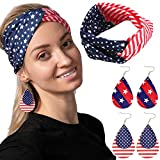 COMPREHENSIVE SET. Our 4th of July accessories set includes a US flag-themed headband, and 2 pairs of leather earrings. Celebrate with style! UNIQUE DESIGN & EASY TO USE. Show off American pride with our flag headband and earrings! They're also great...
