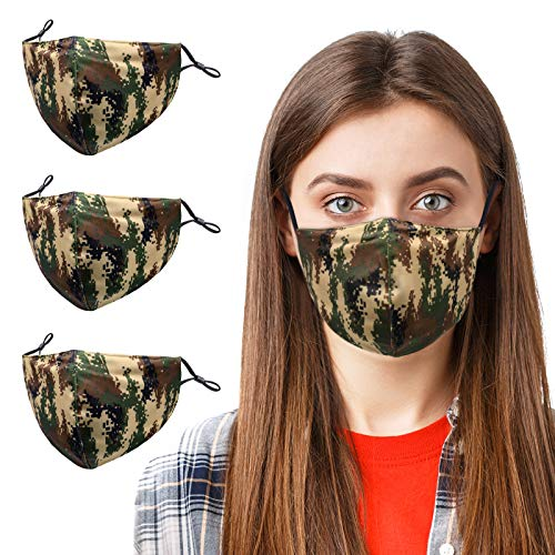 3PCS Camo Face Mask for Women,Washable,Reusable and Breathable