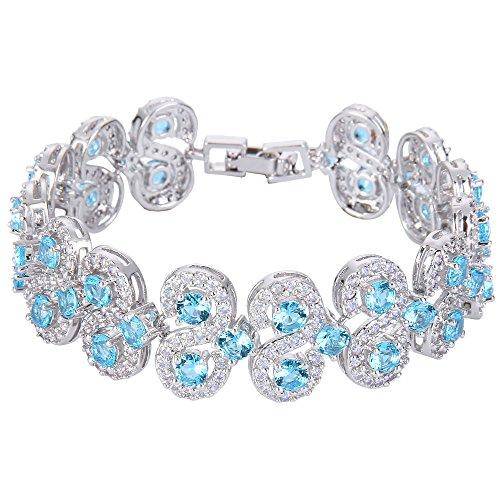 EVER FAITH Damen Zirkonia Art Deco S-Form Roman Tennis Prom Armband Armreif Aquamarin Farbe Silber-Ton