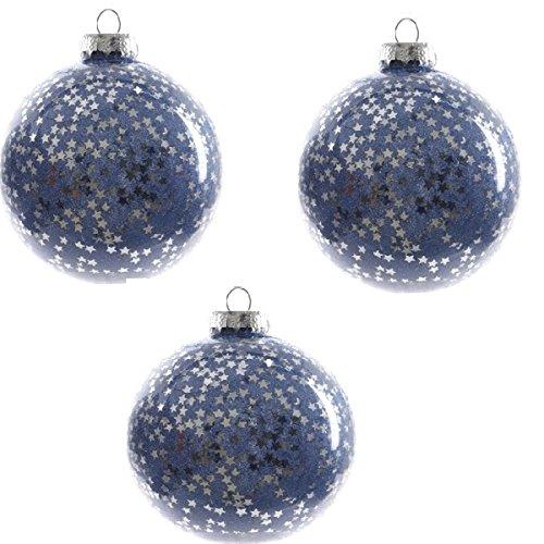 Zeus Party 3 Palle di Natale in Vetro Blu Decorate
