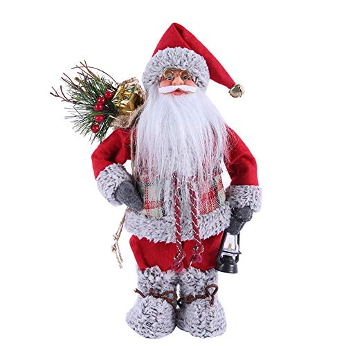 Soly Teche 13.7'' Santa Claus Figurines Christmas Standing Santa Figure Decorations, Santa Doll Christmas Collectible Figurines Table Decor Xmas Ornament Santa Statues and Figurines
