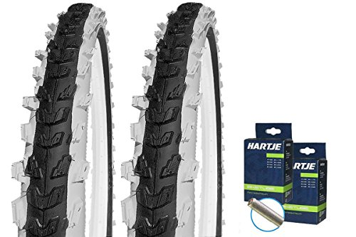 SET: 2 x Kenda Kinder Fahrrad BMX Reifen K829 schwarz-weiß 20x2.00 + 2 SCHLÄUCHE Autoventil