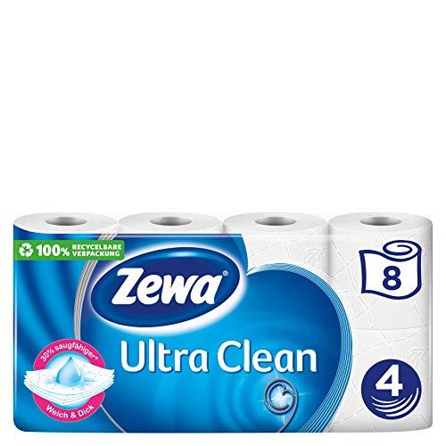 Zewa Ultra Clean Toilettenpapier, 8 Rollen mit je 150 Blatt, 4-lagiges Klopapier, 670 g