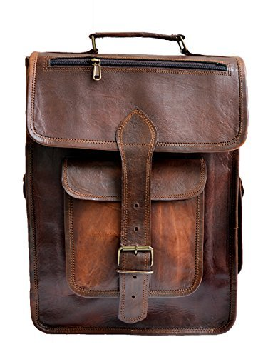 """jaald 15"""" Unisex Genuine Leather Briefcase Backpack College,school Picnic Travel Bag"""