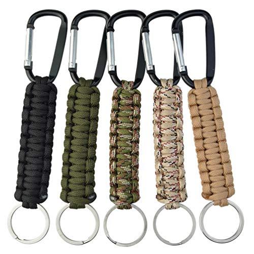 Lot de 5 porte-clés en paracorde avec mousqueton tressé - Kit de survie pour clés de plein air, camping, randonnée, sac à dos - Pour homme et femme - 5 couleurs