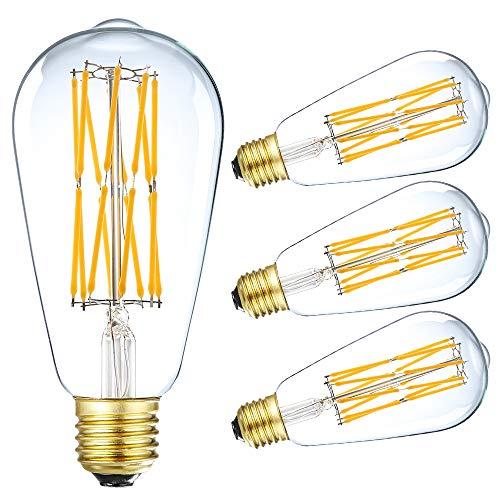 LEOOLS Vintage LED Edison Bulb Dimmable 15W Led Filament Light Bulb ST64 1300 Lumen 2700K Soft Warm White 120 Watt Incandescent Equivalent E26 Base Decorative Antique Lamp,4 Pack.