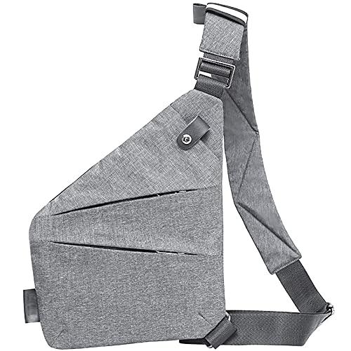 Peicees Schultertasche für Herren, lässig, für Damen, Mini-Umhängetasche, kleiner Rucksack, trendig, Brusttaschen - Grau - Einheitsgröße