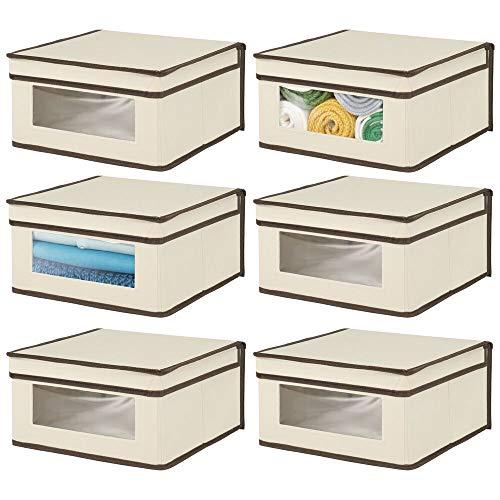 mDesign Juego de 6 cajas con tapa apilables para ropa, sábanas, etc. – Cajas de tela medianas con ventana transparente – Ideales como organizador de armarios en dormitorios o pasillos – crema/marrón