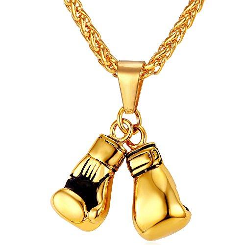 U7 Handschuhe Anhänger Halskette 18k vergoldet Boxhandschuhe Kettenanhänger mit Weizenkette Gym Fitness Modeschmuck für Männer Frauen, Gold-Ton