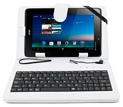 DURAGADGET White Faux Leather Case w/QWERTY Keyboard & Micro USB Connection - Compatible with Acer Iconia Tab B1-A71 | Iconia A511 | Giordano B1-A71 | Iconia Tab A1-810 & Iconia A1-811