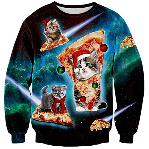 Loveternal Mens Womens Ugly Christmas Pizza Cat Sweater Hipster Novelty Graphic Galaxy Pullover Sweater Light Laser Sweatshirt for Teen Girls Boys Holiday Xmas Gift XXL