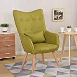 WarmieHomy Modern Occasional Chair Buttoned Linen Fabric Tub Chair Armchair for Bedroom Living Room Office Lounge Reception (Green)