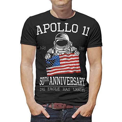 WJunglezhuang Herren Retro Astronaut Apollo 11 50th Anniversary T-Shirt Tees Sommer Tee Shirts für Mädchen Gr. S, weiß