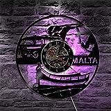 ROMK Relojes de Pared Malta Reloj de Vinilo LED Iluminación Cambio de Color Luz de Pared Control Remoto LED Retroiluminación Moderna Sala de Estar Fresca Luz de Pared Interior