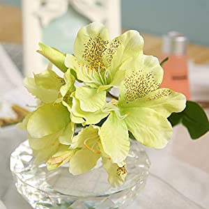 ShineBear 8 Heads Silk Rhododendron Flower Artificial Single Branch Flower Pastoral Fresh Style Wedding Decoration Home Party Hotel 1pcs