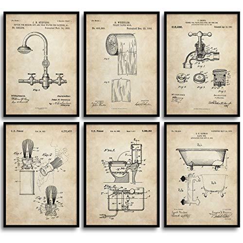 MONOKO® Póster para cuarto de baño con imágenes – Cuadros elegantes murales de baño – WC – Juego de 6 sin marco (juego de inodoro, patente, vintage, 6 x A4 (21 x 29,7 cm)