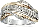 Jewelili 14K Rose Gold Plated Sterling Silver 1/10 CTTW Natural White Diamond Crossover Fashion Ring, Size 7