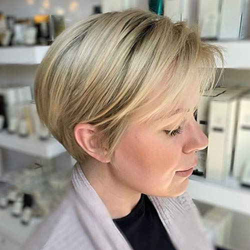Queentas Blonde Short Wigs Layered Shaggy Ombre Light Brown Roots Full Synthetic Hair Wigs for White Women (Bleach blonde)