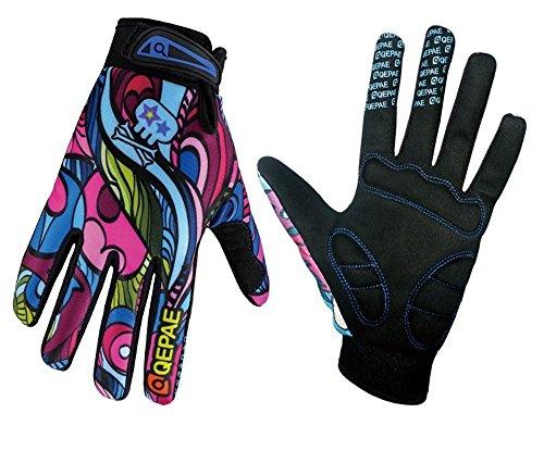 QEPAE® Atmungsaktiv Unisex Erwachsene Fahrradhandschuhe rutschfeste Half Finger und Full Finger Gel-Handschuhe für Fahrrad Fahren Skifahren–Gorgeous Color L Gorgeous Color (Full Finger)