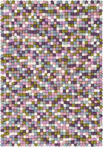 myfelt Greta Filzkugelteppich — 90x130cm, rechteckig — Pastell multifarben
