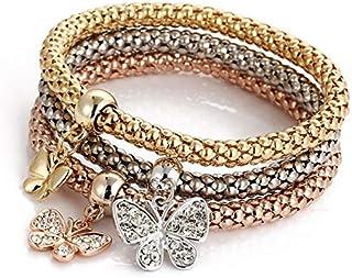 nessa Vintage Designer Austrian Rhinestones Gold Plated Tree of Life Charm Bracelets Popcorn Chain Jewelry for Women