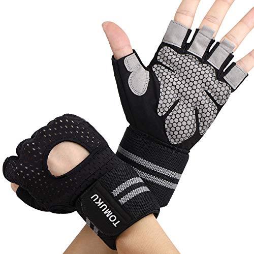 Tomuku Fitness Handschuhe Trainingshandschuhe Sporthandschuhe mit Handgelenkstütze für Radsport, Krafttraining und Bodybuilding wie Hanteln, Klimmzüge, Gewichtheben usw (L)