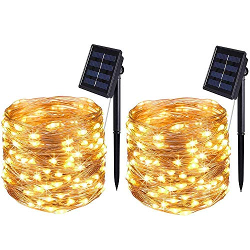 [2 Pack] BOLWEO Solar Lights Outdoor,Solar Garden Lights,10 Meters/ 33Ft 100LEDS / 8 Modes,Waterproof Copper Wire Lighting for Indoor,Outdoor,Wedding,Patio,Home,Garden Decoration (Warm White)