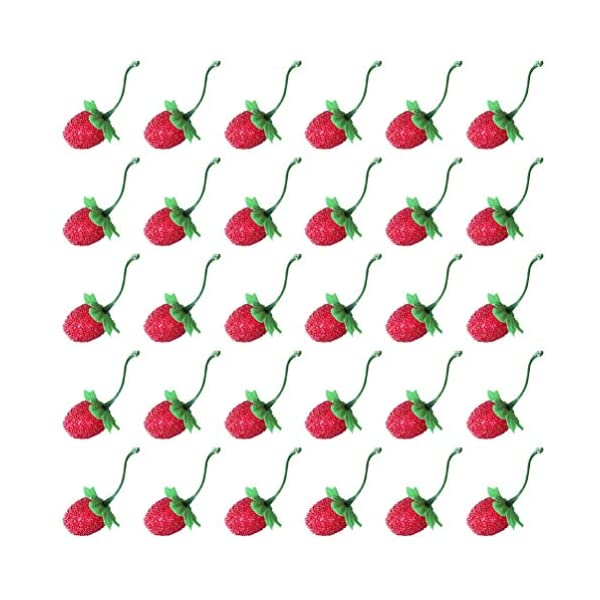 NUOBESTY 60pcs Christmas Berries Photo Prop Artificial Strawberry Foam Strawberries Fake Fruit Christmas Home Kitchen Party Berry Ornament