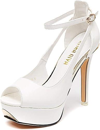 Xgp High Heels Für Frauen Bankett Bankett Bankett Schuhe Fisch Mund Schuhe Neueste High Heels Sexy Vielseitige High Heels Plateauschuhe Stiletto Sandalen (Farbe   Weiß, Größe   37)  Online-Verkauf
