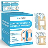 JJ CARE Adhesive Knuckle Bandages and Fingertip Bandages [Pack of 100] Fabric Knuckle Bandages - Elastic, Flexible Fabric Bandages - Highly Absorbent & Excellent Wound Care for Minor Cuts, Scrapes
