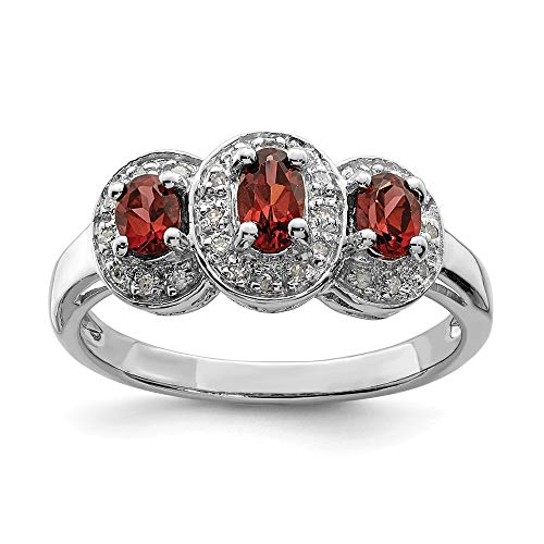 925 Sterling Silver Red Garnet Diamond Band Ring Size 7.00 Stone Gemstone Fine Jewellery For Women Gifts For Her