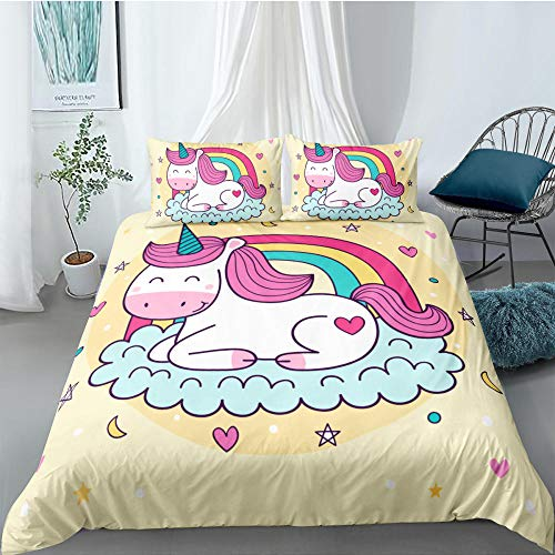 ACVMF Printed Duvet Cover Rainbow Unicorn Bedding Set 3 pcs (1x Duvet Cover and 2 x Pillowcases) 100% Polyester Microfiber Quilt Cover Sets For adults children 55.12 x 78.74 inch